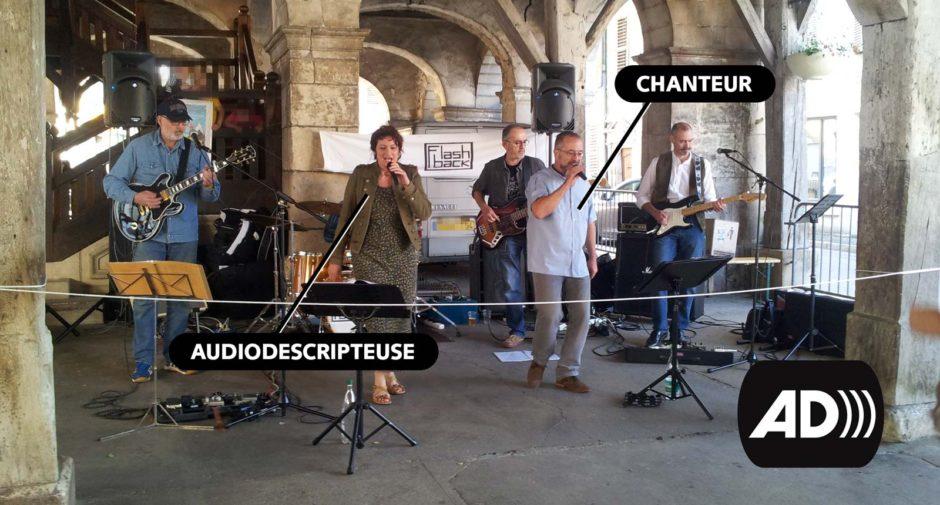 """Le très bon groupe de reprises Rock """"Flash Back"""" a réalisé ce dimanche dans la petite ville de Vézelise, le premier concert au monde en Audiodescription."""