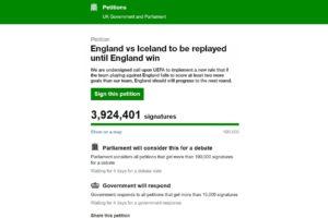 UEFA : 3,9 millions de signataires pour une pétition demandant de rejouer Angleterre – Islande