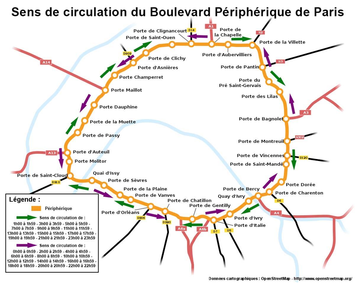 Le boulevard p riph rique parisien prochainement sens unique horaire pour - Les portes du peripherique paris ...